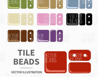 Vector Clipart Set of Two-hole Tile Beads - Instant Download