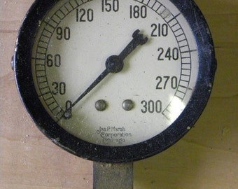 Early Vintage Rare Old Style Black GLASS LENS Pressure Gauge, Industrial Steam Punk, Made Very Well,  All Original As Found Untouched