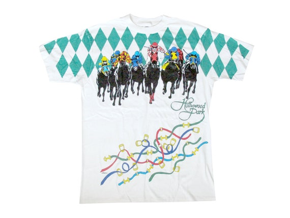 Vintage Hollywood Park Race Track White T-Shirt X-Large 90s Sportswear San Diego California All Over Print