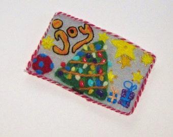 Christmas Joy Needle Felted Postcard
