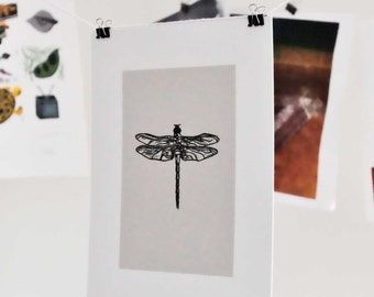 Dragonfly Linocut Block Print