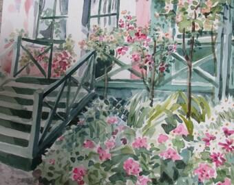 Monet's House at Giverny, Original Watercolor