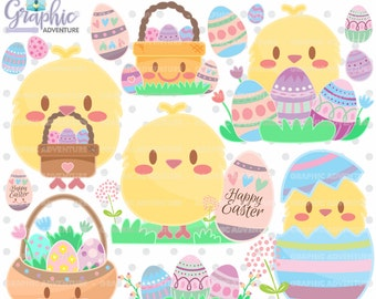 Easter Clipart, Easter Graphics, COMMERCIAL USE, Kawaii Clipart, Spring Clipart, Planner Accessories, Spring Party, Easter Party