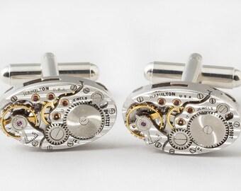 Steampunk cufflinks Vintage Rare Hamilton pinstripe watch movement wedding anniversary silver cuff links men jewelry Steampunk Nation