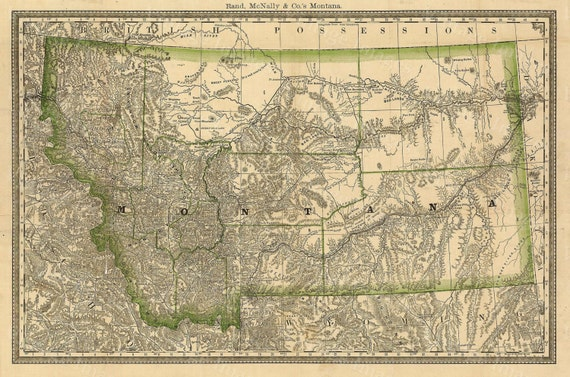MONTANA ART Map of Montana 1881 Antique Restoration decor Style Montana Wall map Vintage Montana state map wall art home office decor