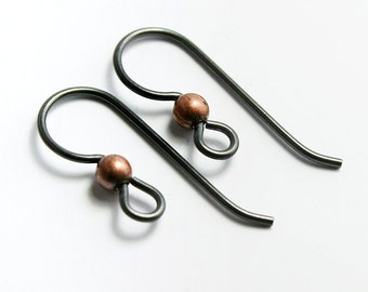 Black Niobium Earwires with 3mm Copper Bead, Set of 10 Hypoallergenic Earrings (5 pairs) Made in USA, #TC101