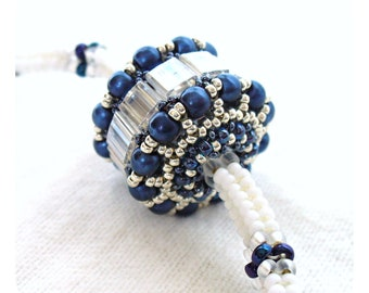 Herringbone Jewelry, Bridal Bead Necklace, Beadwoven Rope, Color Block Necklace, White Blue & Silver, Beaded Bead Pendant - Made in Germany