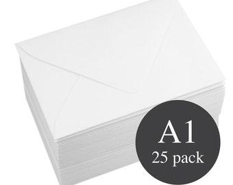 25 - A1 White Matte Euro Flap RSVP Envelopes - 3 5/8 x 5 1/8 - Wedding White