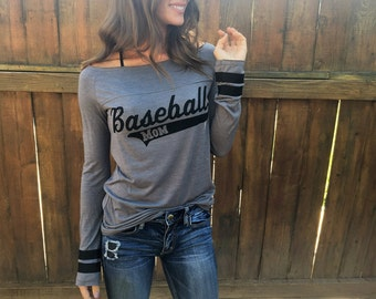 Baseball Mom. Off the Shoulder Long Sleeved Long Heathered Tee. Sporty Striped Shirt. Made in the USA. Women's Long Sleeve Top. Sporty Tee.