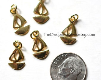 One Gold Vermeil Sailboat Charm with Jump Ring 17 x 8mm