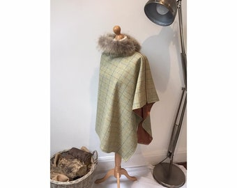 Green Tweed wrap/cape with fur