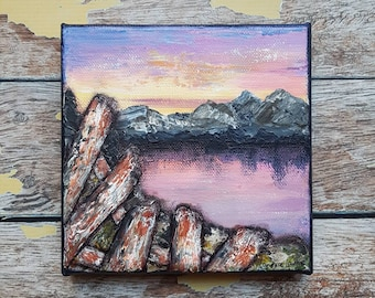 "Seascape Canvas Art | Coastal Painting | Ocean Art | Mountain Painting | 6x6 | ""Yesterday"" 