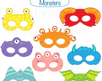 Monster Printable Masks, halloween masks, monsters, monster costume, monster party, halloween party, printable masks, kids mask, creatures