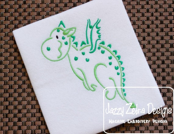 Dragon Satin Stitched Outline embroidery Design - dragon embroidery Design - mascot embroidery Design