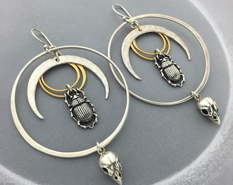 Scarab Bettle, Sparrow Bird Skull, Sun and Moon Hoop Earrings