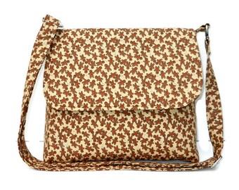 Small Christmas Purse Crossbody Bag Brown Handbag Messenger For Her Holiday Pocketbook Shoulder Bag Adjustable Strap, Gingerbread Print