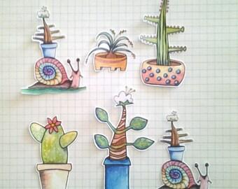 Cactus Sticker Set, unique, hand cut, Art Stickers