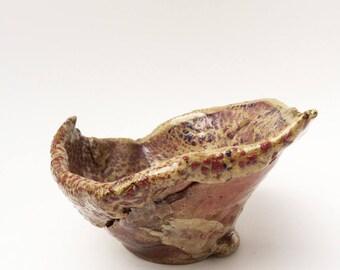 Graceful Upswept Bowl, Hobbitware Bowl, Pottery Rustic, Primitive, Sushi, Weird Bowl, Strange Bowl, Altar Bowl, Burgundy, Navy