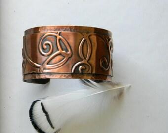 Copper cuff bracelet handmade hammered copper bracelet  artisan copper cuff bracelet  7th anniversary gift for wife swirls statement cuff