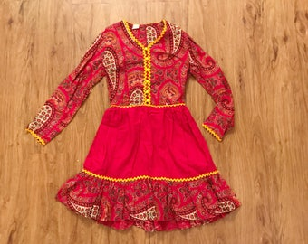 Vintage 70s Red Paisley Floral Long Sleeve Holiday Mini Dress Small