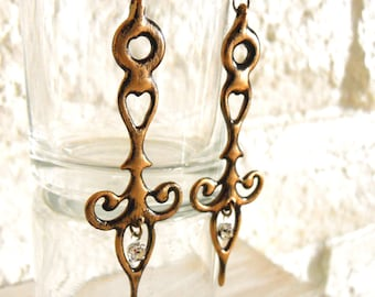 Steampunk earrings Clock Hand distressed Antique Gold colored with Crystals Steampunk Neo Victorian masquerade - She's the Bell of the Ball