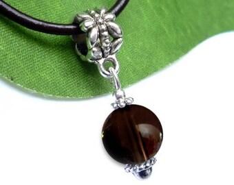 Silver plated - smoky quartz sphere pendant