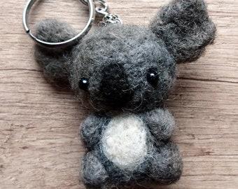 Needle felted handcraft koala keyring raw wool