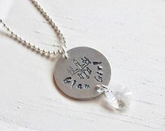 Glam girl necklace - hand stamped chandelier necklace - Swarovski crystal