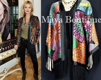 Maya Matazro Fringe Jacket Kimono Kate Moss Style Silk Devore Stunning!