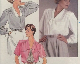 Butterick 3190 Size 6-8-10, Misses' Blouse Pattern, UNCUT, Loose Fitting Blouse, Vintage, 1985, Casual, Career Wear, Fun, Work Wear