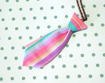 Unisex Mini Tie Rainbow Stripe Necklace Pin