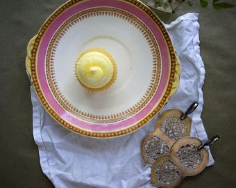 Vintage Cookie Plate, Antique Porcelain, Pink and Gold, Easter Entertaining, Pastry Server, Tab Handles