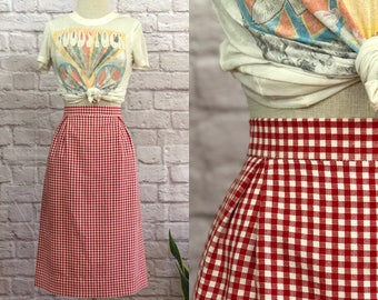 Vintage Retro Red/White Gingham Pencil Skirt Knee Length High Waisted Size Small Medium Classic Tailored Fit Inverted Pleat Details Classic