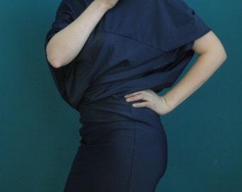50% DISCOUNT oversized stretch dress // bat wing dress // navy blue