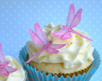 Wedding Cake Topper Mini EDIBLE DRAGONFLIES in pink - Cake & Cupcake toppers - Food Accessories