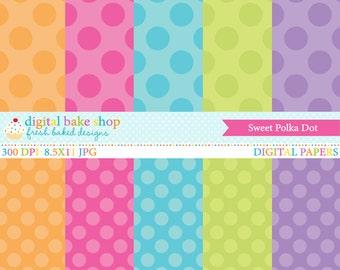 digital papers polkadots polka dots pink purple blue orange green - Sweet Polka Dot Papers