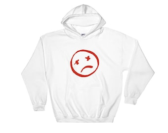 Red smiley face Hoodie (White)