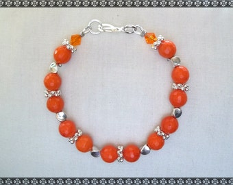 orange bracelet, porcelain bracelet, bright orange, orange