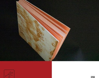 Hand bound notebook with orange pages ( A N D S T O R M )