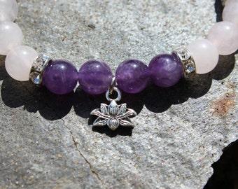 Amethyst & Rose Quartz Lotus / Om Bracelet