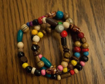 Colorful Stack of 3 Wood Bracelets