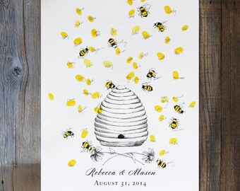 Wedding Guest Book Alternative, thumbprint guestbook, Unique Guestbook, Honey Bee Hive (w/ 1 mini ink pad), fingerprint tree, baby shower