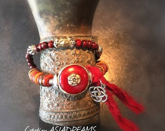 """Bracelet """"Lunh"""" ethnic tribal and chic - Collection """"Stops Nepalese""""-"""