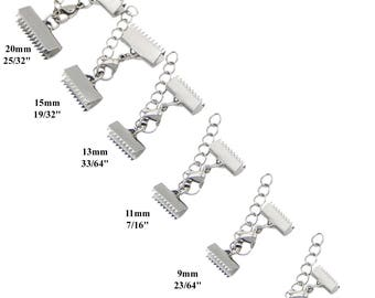 Stainless Steel Silver Tone Ribbon Cord End Clamp Crimps with Lobster Clasp and Extension Chain 6 9 11 13 15 20 mm