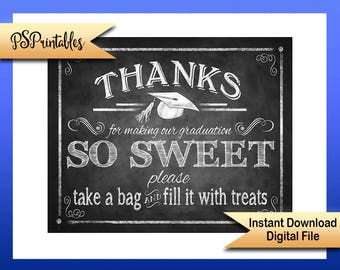 Printable Graduation Thank you Sign, Graduation is Sweet, sweets bar sign, OUR Graduation sign, DIY graduation decor, chalkboard grad sign