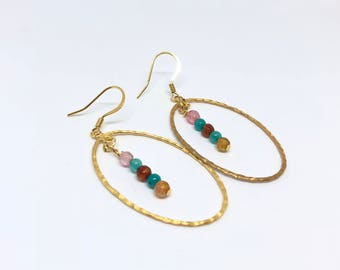 FREE SHIPPING | Gold Earrings | Delicate Dangle Earrings | Dangle Earrings | Aqua Beaded Earrings | Pink and Gold Earrings | Boho Earrings