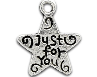 Star Charm 16 Just For You Charms Double Sided Antique Silver Tone  ts274