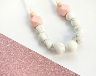 Silicone Baby Teething LINA Necklace - Teether - Mom, Modern Nursing Necklace, Chewlery, Stillkette, collier allaitement