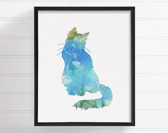 Blue Cat - Cat Art Print - Cat Poster - Cat Wall Decor - Cat Wall Art - Watercolor Cat, Cat Painting, Watercolor Animal, Watercolor Painting