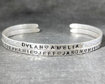 Engraved Sterling Bangle - Skinny Sterling Silver Hammered Cuff Bracelet - 2.5mm Organic Hammered Texture - Silver Stacking Cuff